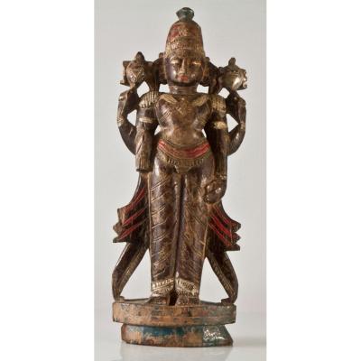 Statue Bois Sculpté Asiatique Divinité Féminine Indonésie