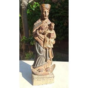 Vierge De l'Apocalypse Statue Bois XVIIIème