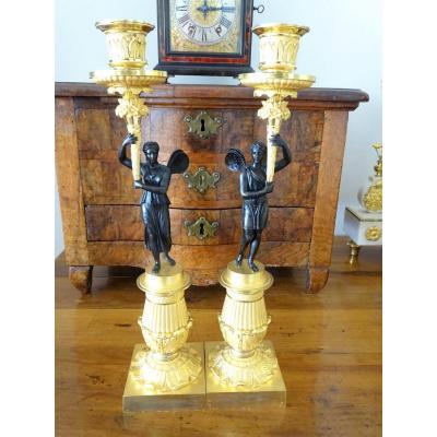 Paire De Candélabres D'époque Empire En Bronze Doré