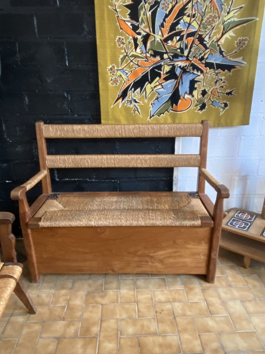 Elm And Straw Bench