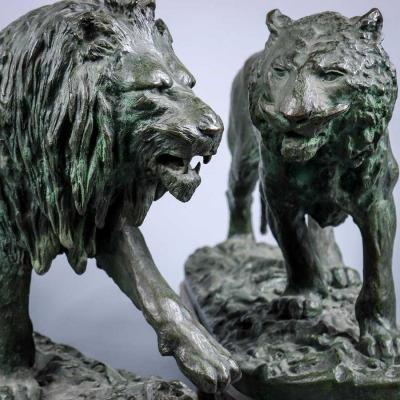 Paire De Sculptures Bronze Fratin Lion Lionne 36X52cm