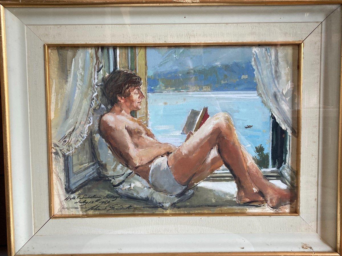 Aquarelle «Vue Depuis La Chambre Sur Le Lac De Côme» Signée John S Goodall 1969
