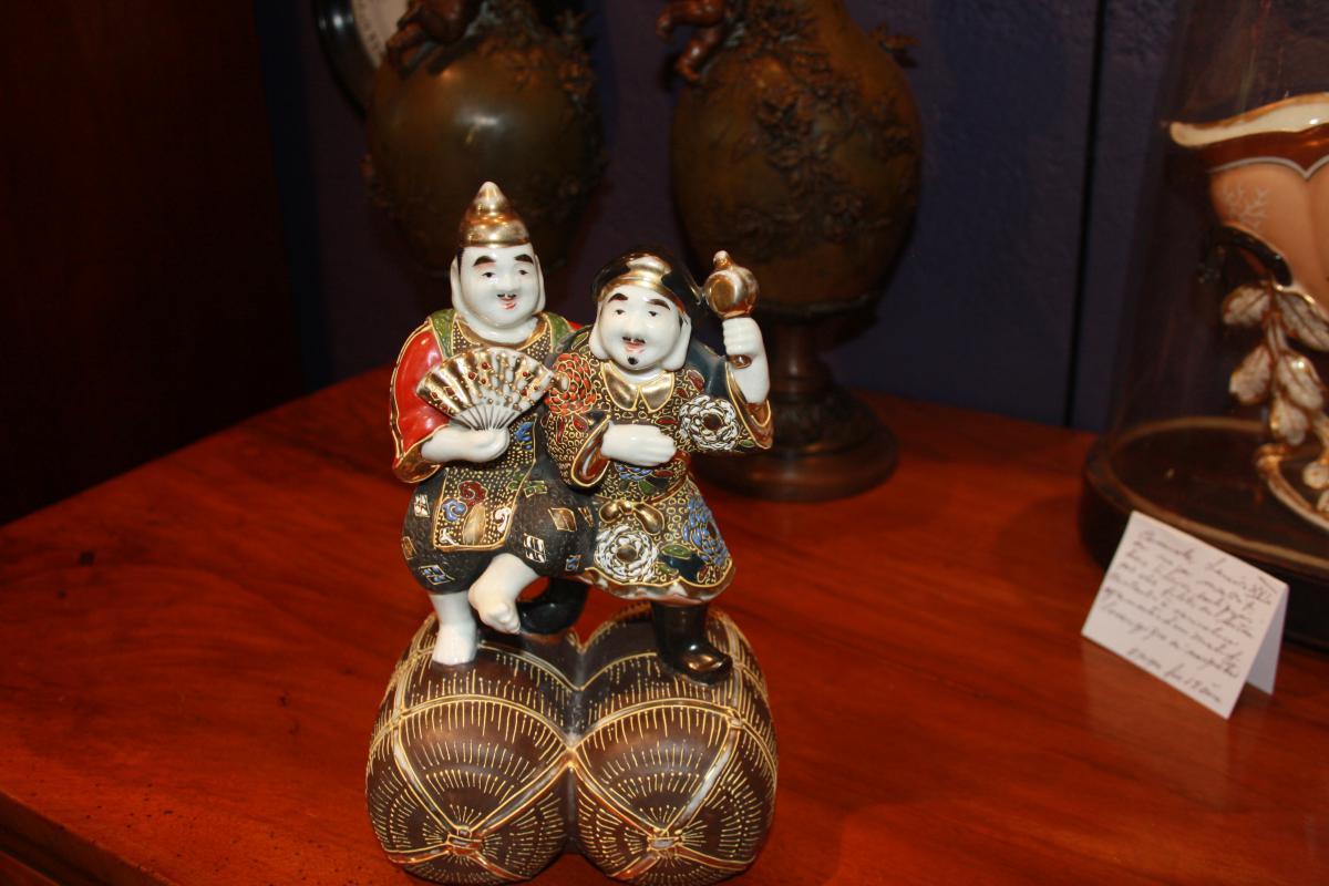Couple De Japonais En Porcelaine Polychrome 19ème