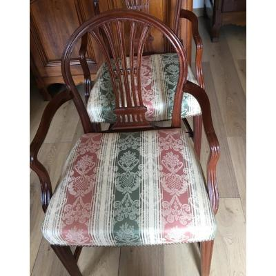 A Pair Of Armchairs 20th In Solid Mahogany