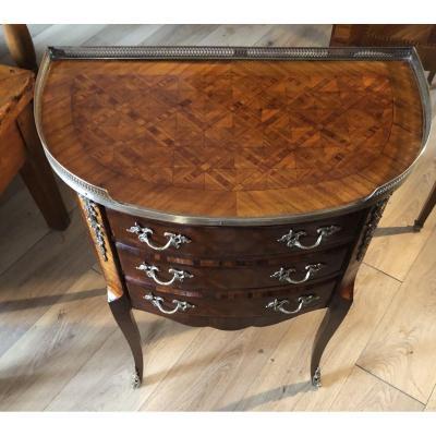 Petite Commode Demi-lune  à tambour de Style Louis XV