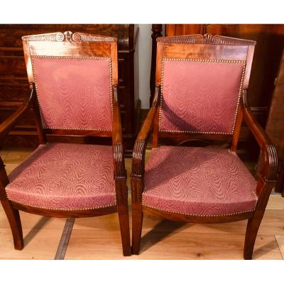 A Pair Of Empire Armchairs From XIXth Century In Mahogany