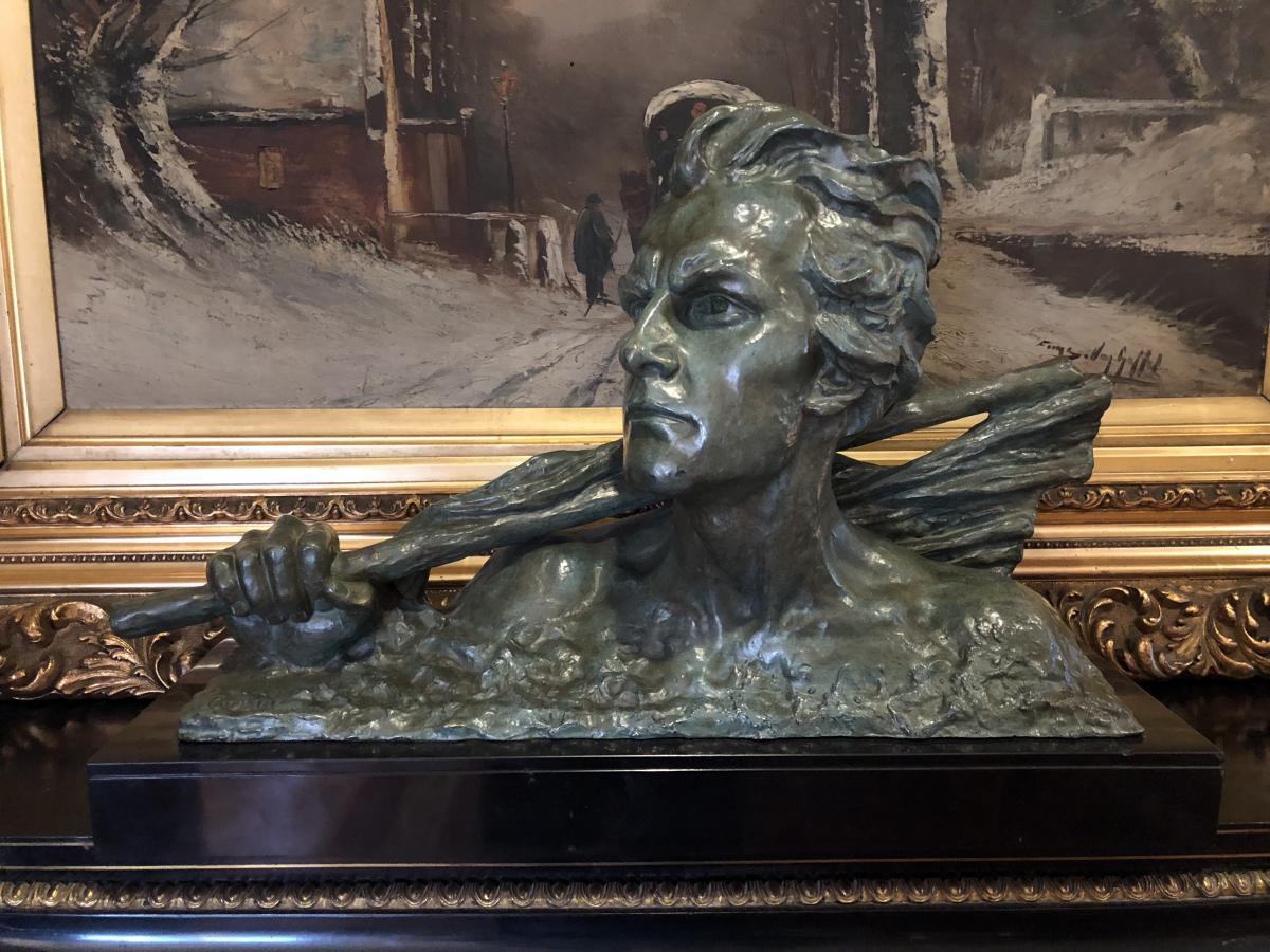Bronze Art Deco Signé Alexander Ouline Sur Socle En Marbre