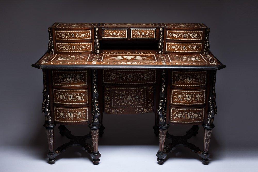 Antique Rosewood Inlaid Desk Mazarin Desk