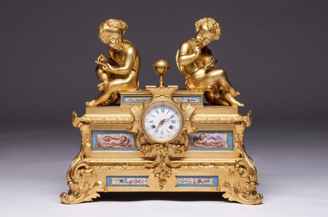 Pendule Raingo Freres & H. Picard 19th Century French Gilt Bronze And Sevres Porcelain Clock