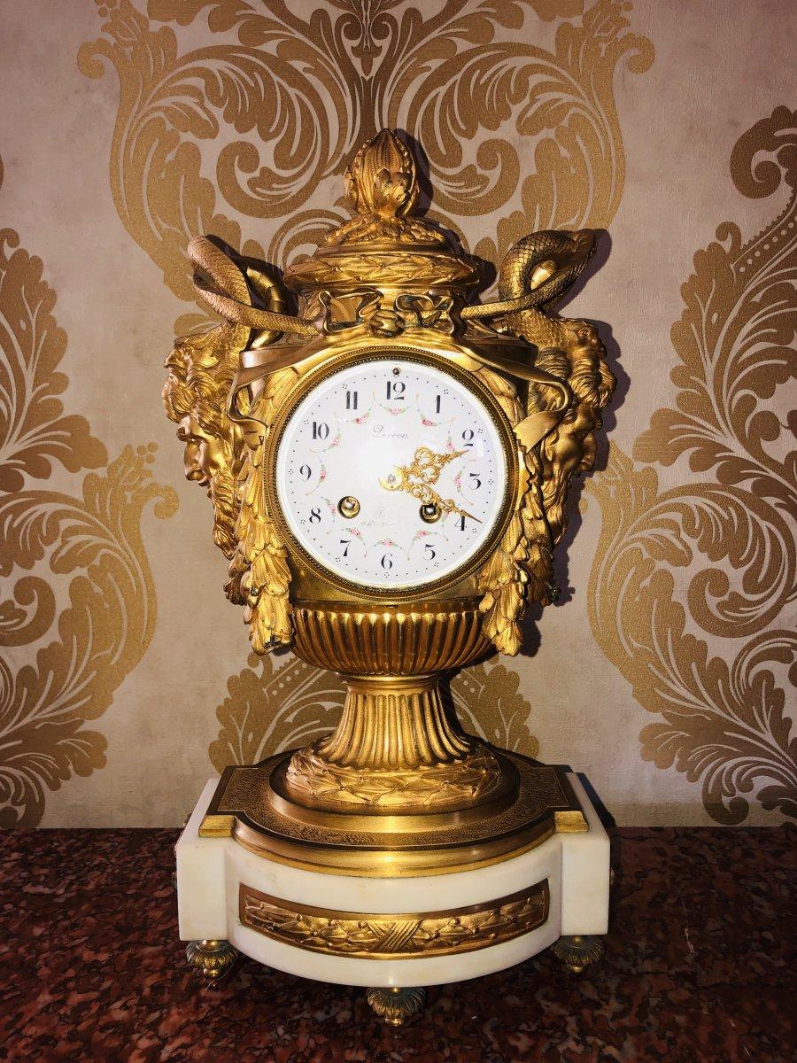 French Bronze Clock By Lerron