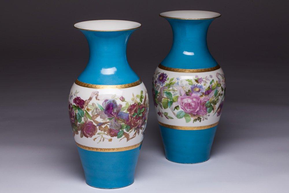 Pair Of Vases Old Paris Porcelain Blue Floral 19th Century