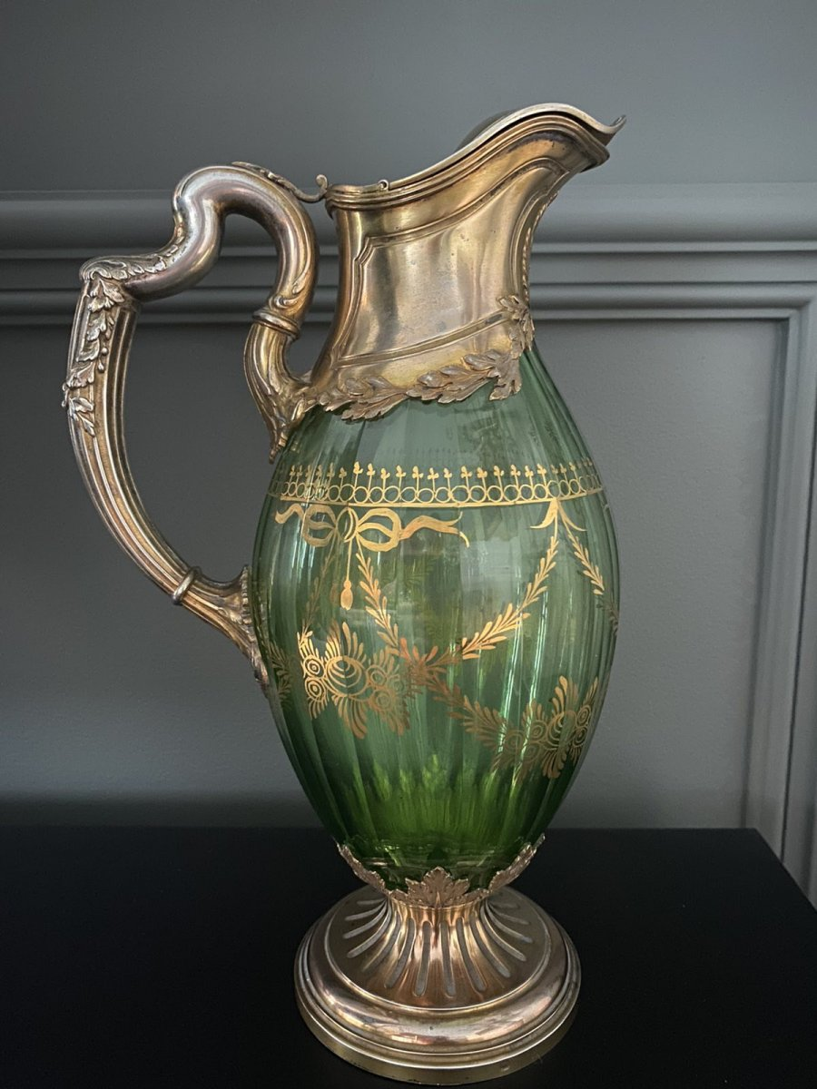 French Belle Époque Rococo Gilded Silver and Crystal Color Decanter