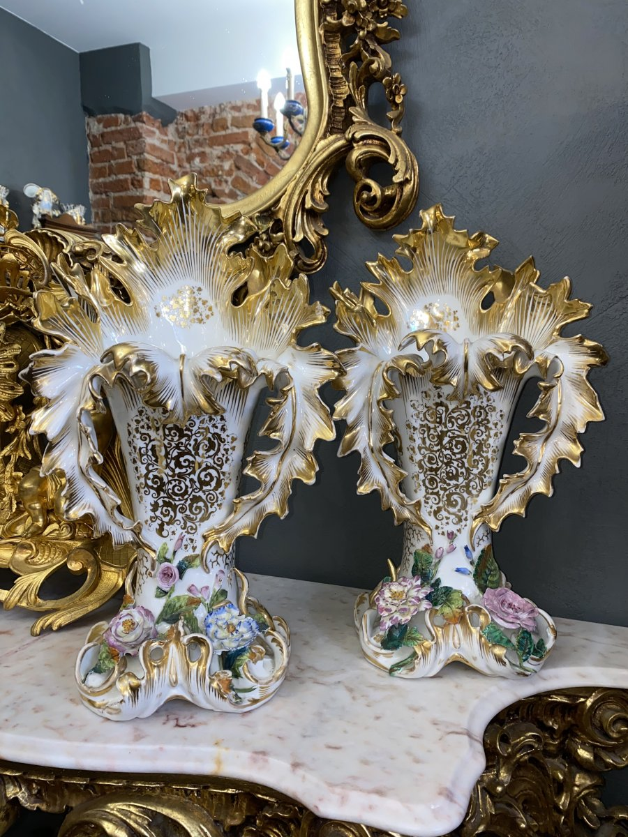 Vieux Paris Vases peints à la main doré