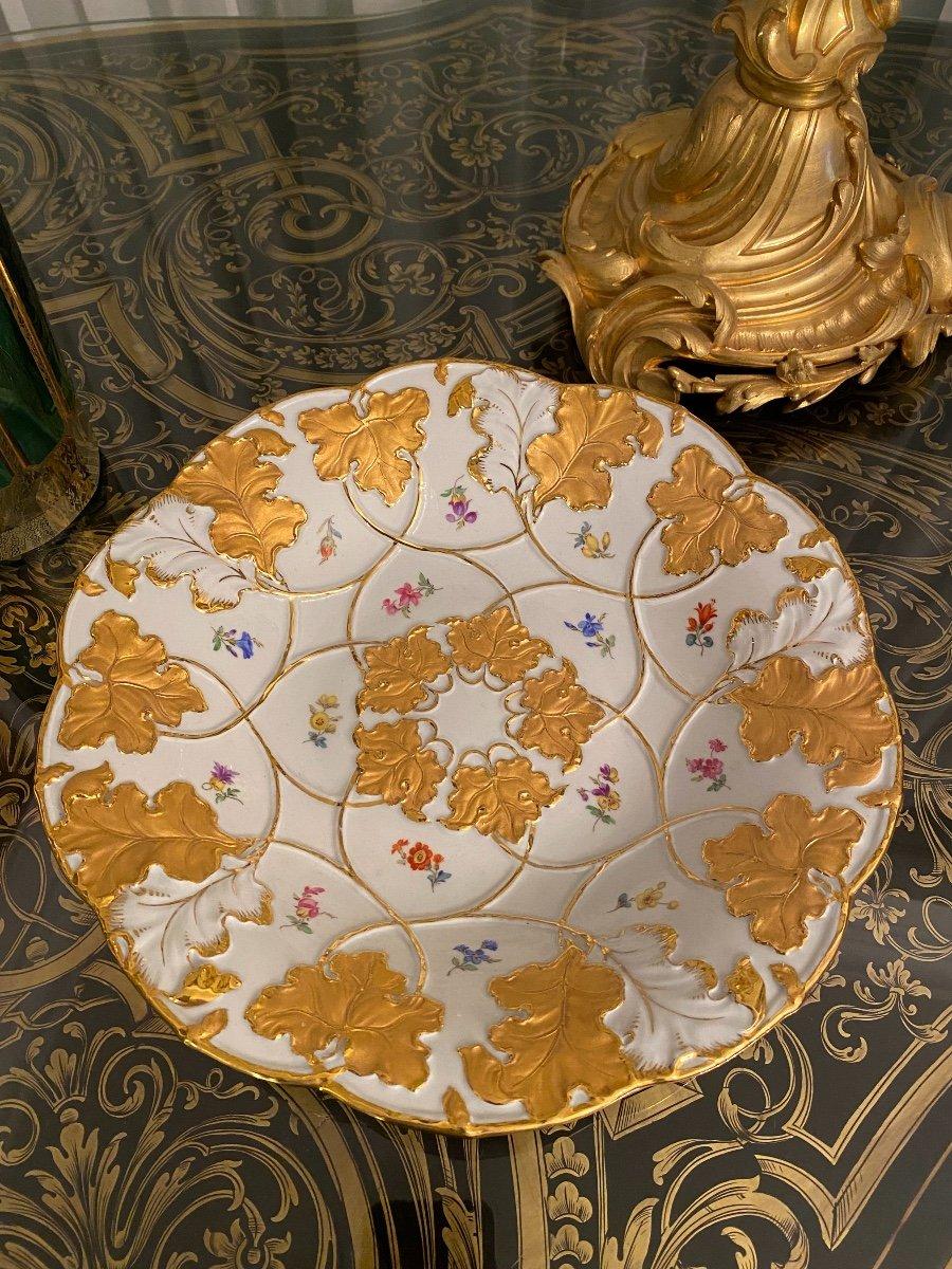 Assiette De Cabinet En Porcelaine Allemande Meissen Or Doré Peint À La Main Fleur Rose-photo-2