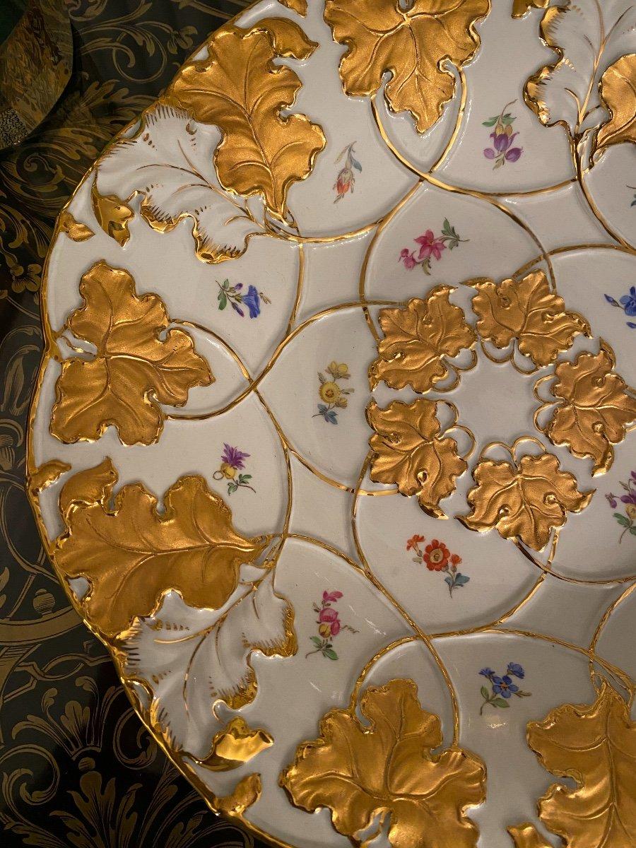 Assiette De Cabinet En Porcelaine Allemande Meissen Or Doré Peint À La Main Fleur Rose-photo-3