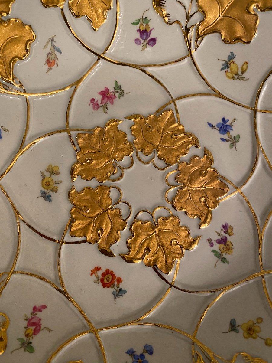 Assiette De Cabinet En Porcelaine Allemande Meissen Or Doré Peint À La Main Fleur Rose-photo-4