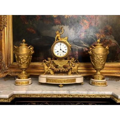 Garniture De Cheminée En Bronze Doré Napoleon III Signée De Charpentier