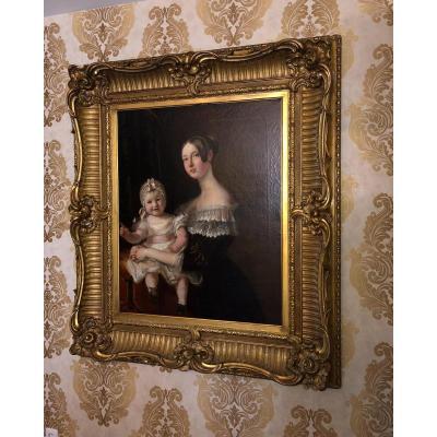"""Grande Peinture à l'Huile De Portrait Du XIXe Siècle """"mother & Child''"""
