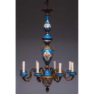Blue 8 Lights Chandelier In Gilt Bronze And Sèvres Porcelain