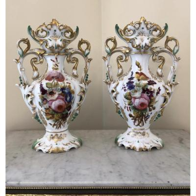 Pair Of Porcelain Vases From Old Paris With Hand Painted Flowers