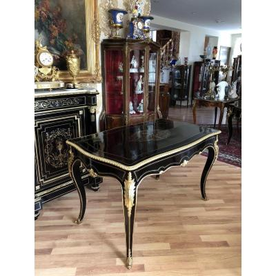 Napoleon III Bookcase Desk, Black With Bronze Inlay