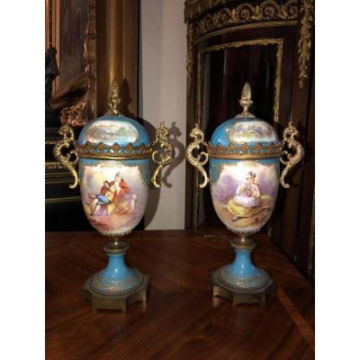Antique Pair Bleu Celeste Sevres Porcelain Gilt Bronze Lidded Vases 19th C