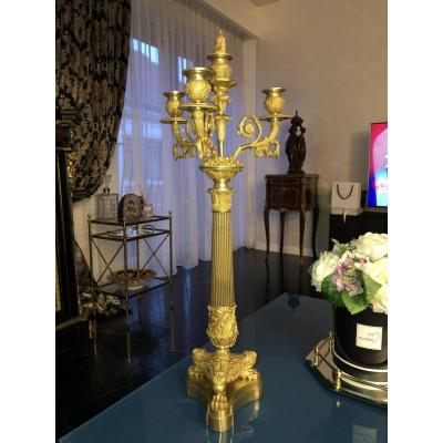 Large French Empire Gilded Bronze Candlebra