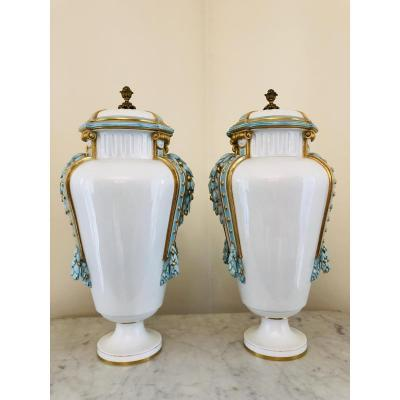 Porcelain French Louis XVI Style Vases Pair Bronze