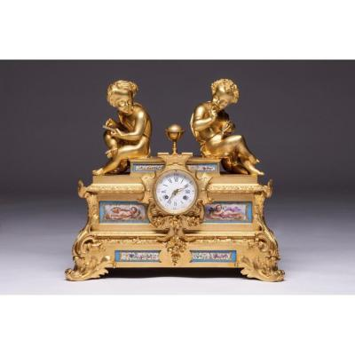 Raingo Freres And H. Picard 19th Century French Bronze Gilt Bronze And Sevres Porcelain Clock