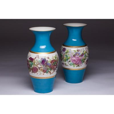 Pair Of Vases Old Paris Porcelain Blue Floral 19th Century