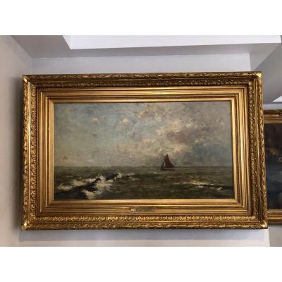 Frans Van Damme (1858-1925) Peinture Marine. Flamande