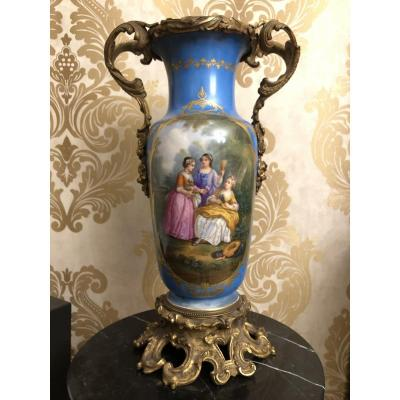 Antique French Sevres Style Vase Hand Painted Porcelain With Bronze