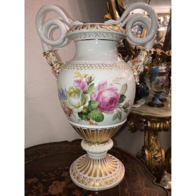 Meissen Porcelain Vase Snake Handles Hand Painted