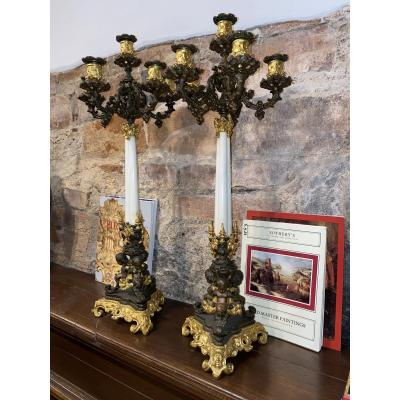 Pair Of 19th Century French Empire Bronze And Ormolu Candelabra