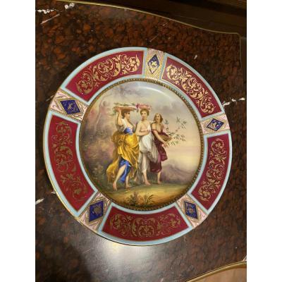 Assiette en Porcelaine Scenic Royal Vienna Antique Signée K.Weh
