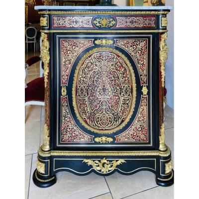 Buffet Commode Cabinet With Marquetry Boulle Napoleon III Marble Top