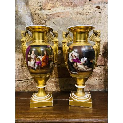 19th Century Empire Porcelain Vases With Scenery Painting