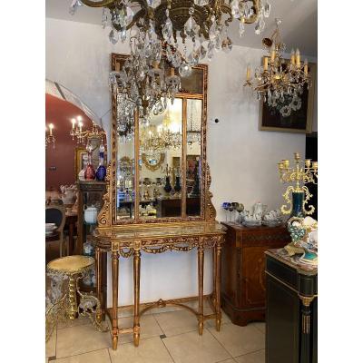 Console avec miroir peint à la main antique avec marbre Bois massif de style Louis