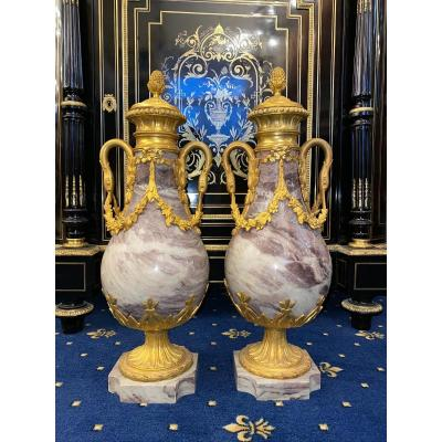Pair Of Casseroles Cassolettes Mounted In Marble And Bronze With Swan And Floral Motifs 19th Century