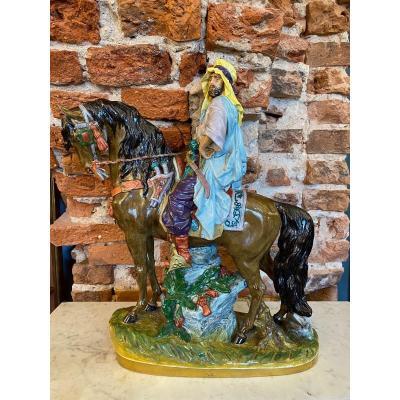 Sitzendorf Dresden Porcelain Figurine Arabian Men and Horse