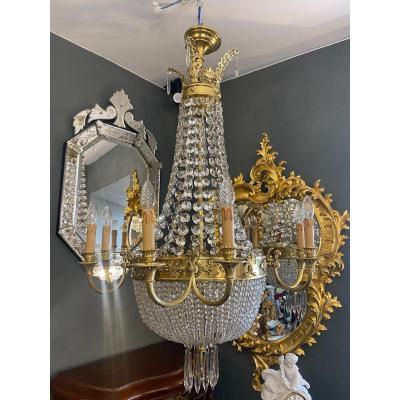 Lustre Ancien En Bronze Et Cristal De Style Louis XVI