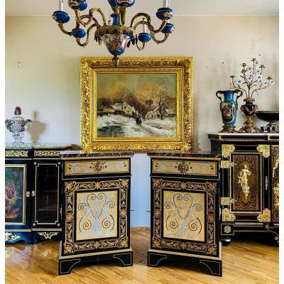 Paire d'Armoires Boulle Bois Noirci Marqueterie 19ème Siècle Laiton et Etain Incrustation Style Louis XIV