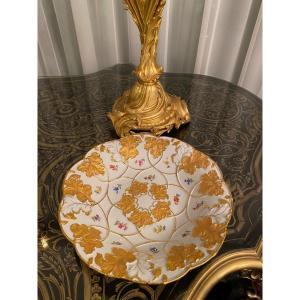 Assiette De Cabinet En Porcelaine Allemande Meissen Or Doré Peint À La Main Fleur Rose
