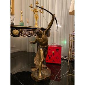 """Drouot Edouard 1859 - 1945 """" L'archer """" Sculpture en bronze à patine bronze France Français"""