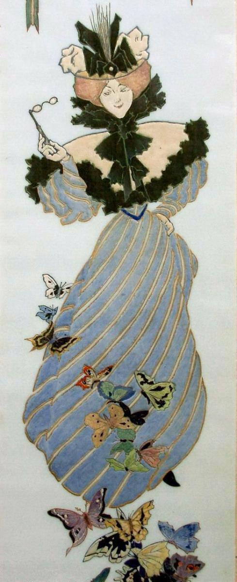 Picard & Cie 1900 Jugendstil Panneau Art Nouveau en Verre Élégante Parisienne