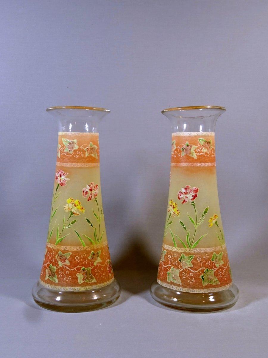Paire de Vases Diabolo Art Nouveau à Decor d'Oeillets & de Vigne Vierge, Legras ou Dlg, vers 1900