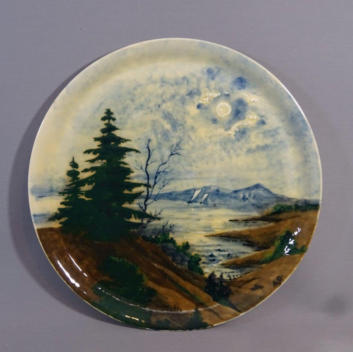 Albert Dammouse à Sevres, Important Plat d Epoque Art Nouveau à Decor de Paysage des Vosges