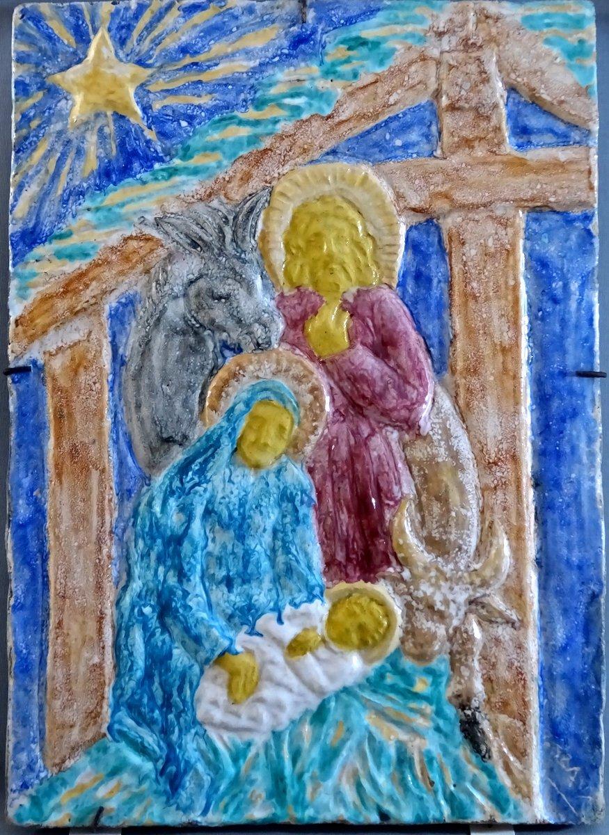 Edouard Cazaux Grand Carreau Plaque Céramique, La Nativité Ou La Sainte Famille, Epoque Art-Déco-photo-2