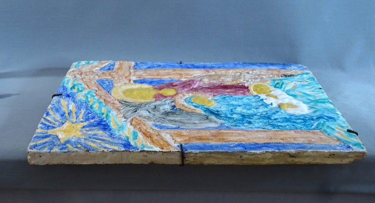 Edouard Cazaux Grand Carreau Plaque Céramique, La Nativité Ou La Sainte Famille, Epoque Art-Déco-photo-4