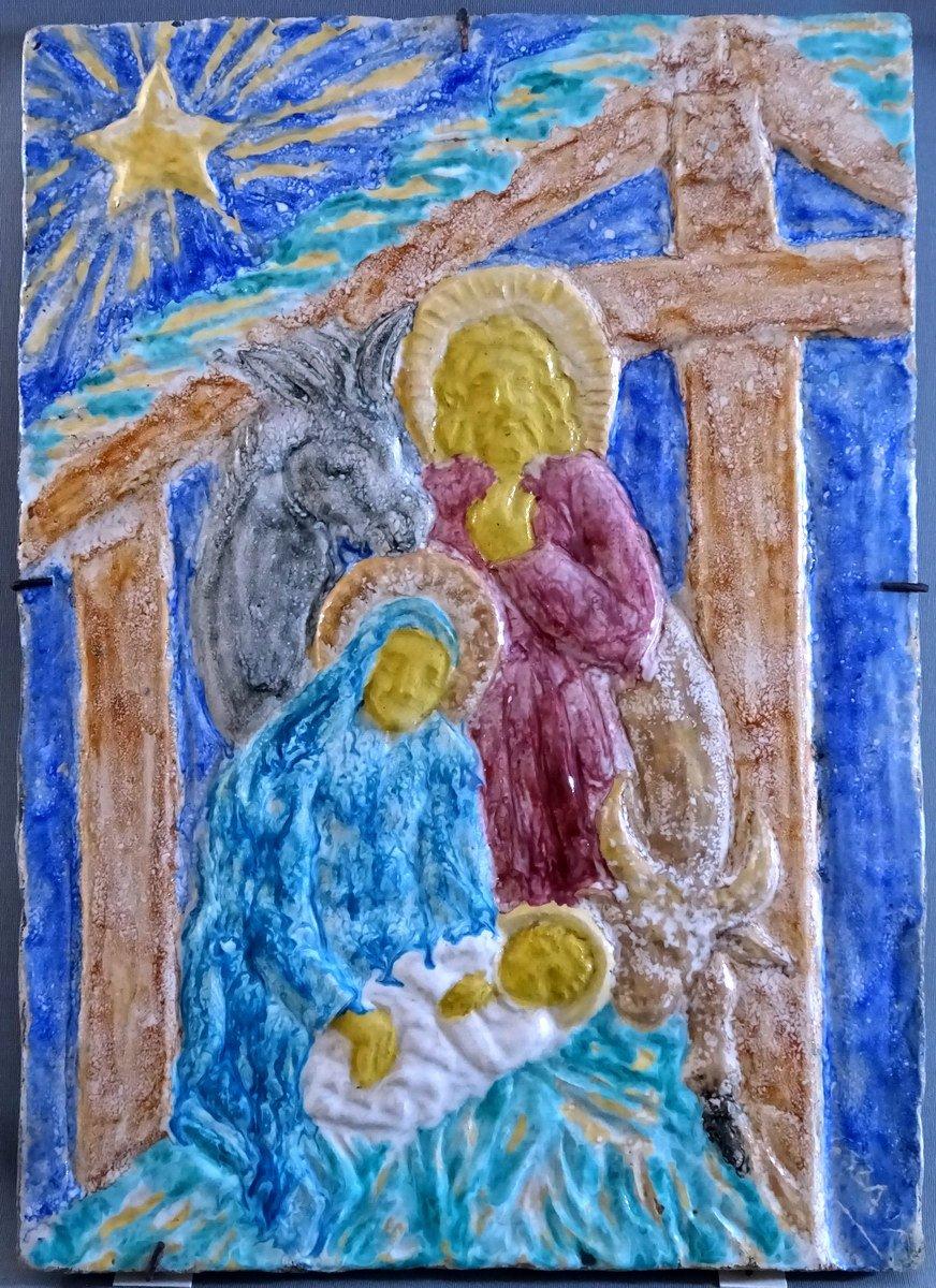 Edouard Cazaux Grand Carreau Plaque Céramique, La Nativité Ou La Sainte Famille, Epoque Art-Déco-photo-1